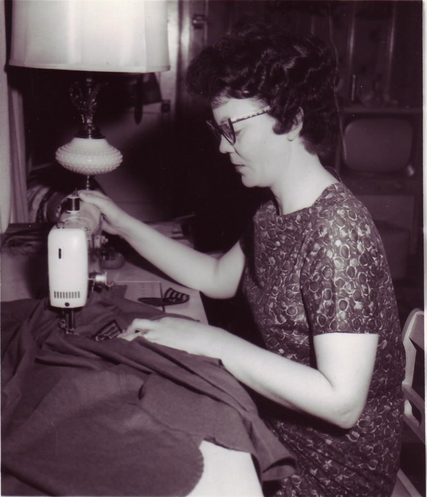 Granna Sewing on Papa's Stripes