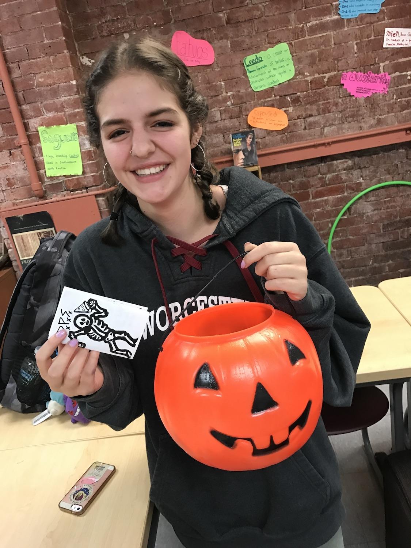 Sophia with the Halloween 'Zine